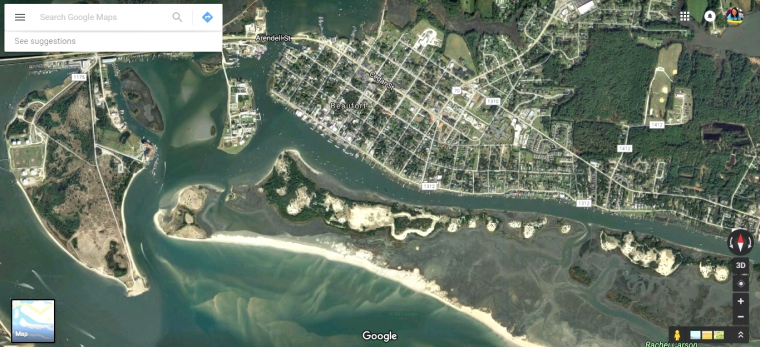 Beaufort Satellite View, Beaufort NC, Carrot Island NC