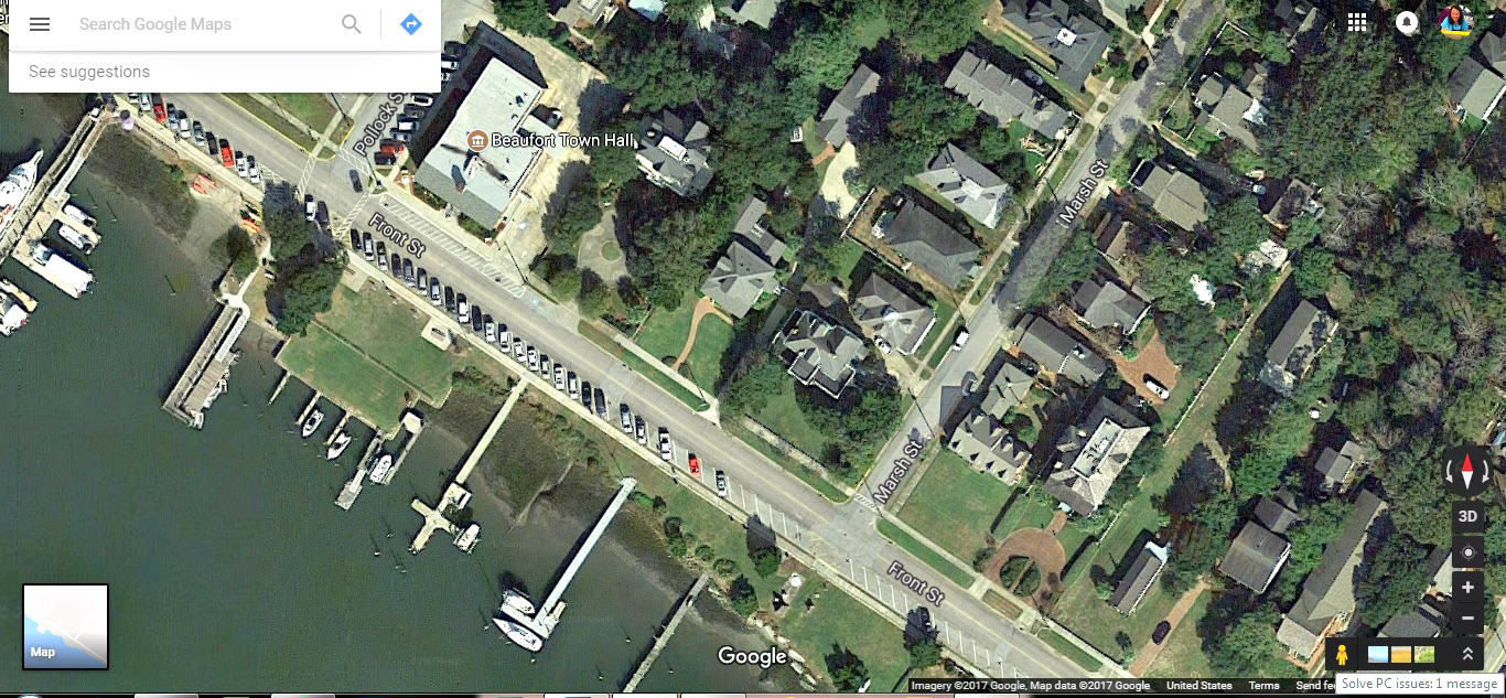 Beaufort Satellite View, Front Street Beaufort NC