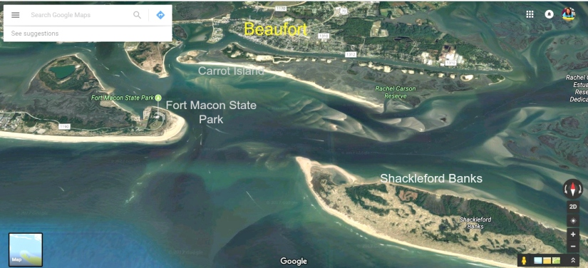 Beaufort Satellite View, Shackleford Banks Satellite View, Carrot Island Satellite View