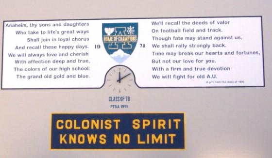 Anaheim High School, Alma Mater, Colonist Spirit